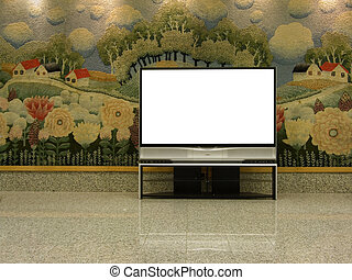 big plasma screen with empty space to write message