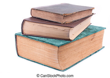 three old books on white background