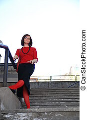 red sox girl - girl with red sox posing on stairs