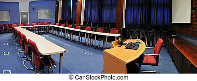 conference room interior - video conference room with chairs...