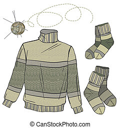 Wool sweater and socks - Warm woolen clothes, sweater and...