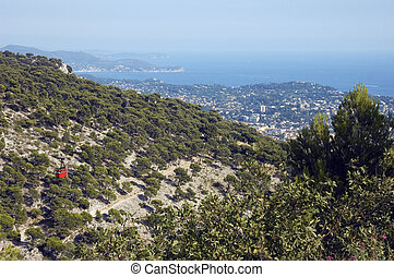 Bay of Toulon and the cable Faro - Red Cable Faro and view...