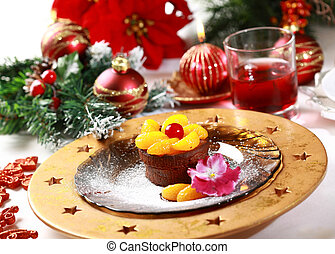 Chocolate Cup Cake for Christmas with caramelized fruits and...