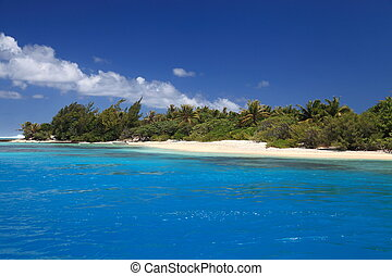 Beach with Coconut Trees in Perfect Blue Lagoon of Maupiti, French Polynesia.