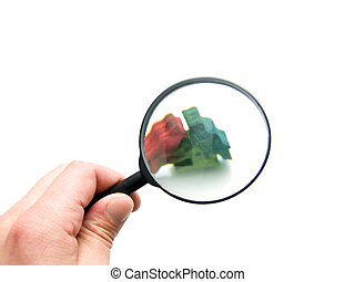 hand with magnifying glass - magnifying glass