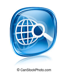 globe and magnifier icon blue glass, isolated on white...