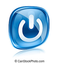 power icon blue glass, isolated on white background