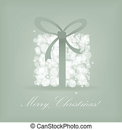 Greeting christmas card with present box from snowballs with...