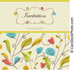 Vintage vector invitation card with floral pattern