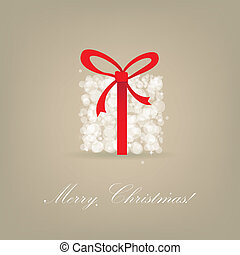 Greeting christmas card with red present box from snowballs