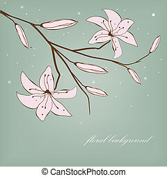 Vintage card with abstract lily flowers for your design