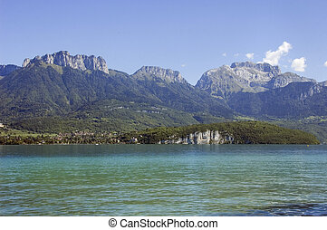 Annecy lake and mountains - Lake of Annecy and mountains La...