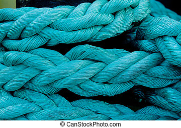 marine rope knotted blue pigtail photography