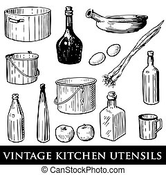 vintage kitchen utensils - Vector set of vintage kitchen...