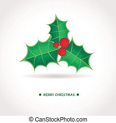holly berries brunch - Vector holiday background with holly...