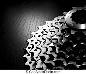 Chainrings set - Mountain bike rear cassette macro shot