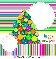 Christmas greeting card with winter tree and balls. vector