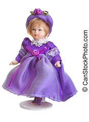 Porcelain Doll in purple dress isolated ovet white