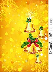Christmas Bell - illustration hanging christmas bell on...