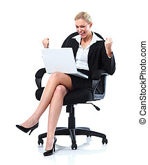 Happy business woman with laptop Isolated over white...