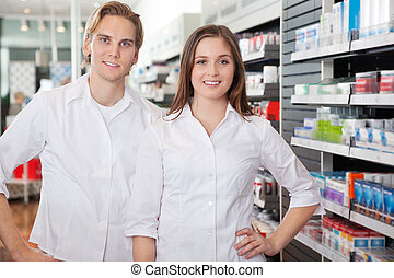 Portrait of Pharmacist Technicians - Portrait of male...