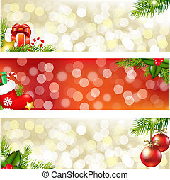 Christmas Banners - 3 Christmas Banners, Vector Illustration