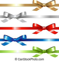 Ribbons Set - 5 Ribbons, Isolated On White Background,...