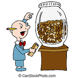 Bean Counting Accountant - An image of a bean counting...