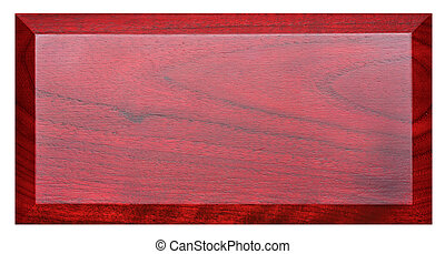 Red nameplate - Plate from mahogany isolated on white...