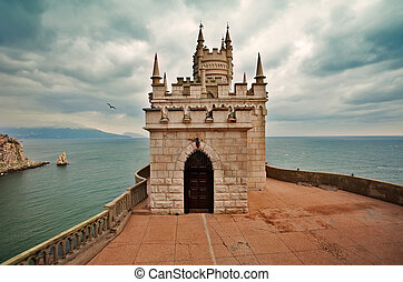 well-known castle Swallows Nest near Yalta in Crimea,...