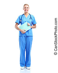 Professional medical woman doctor Isolated on white...