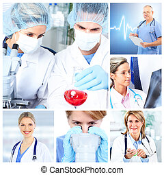 Medical doctors in a laboratory Collage - Medical doctors in...