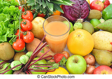 Fruit and juice beverage - Fruits and vegetables surrounding...