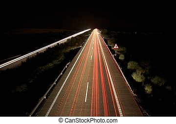 night speed highway - night speed transports at highway in...