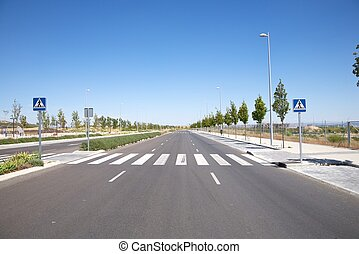 nobody on crosswalk - lonely new street at Madrid city in...