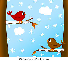 Christmas Red Cardinal Bird Pair Winter Scene - Christmas...