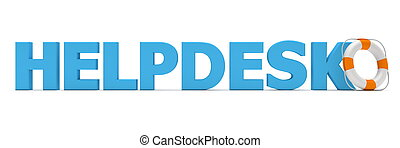 Helpdesk Blue - Life Belt - blue word helpdesk - a white and...