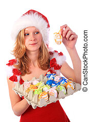 Miss Santa has Found Easter Eggs - Miss Santa is holding a...