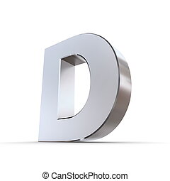 Shiny Letter D - shiny 3d letter D made of solid...