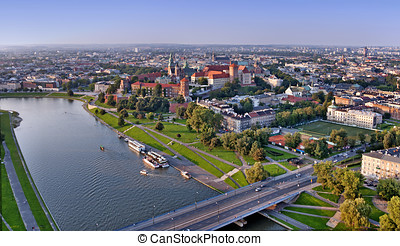 Krakow Skyline - Cracow panorama with Wawel castle and...