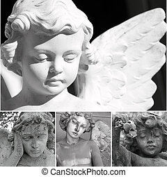 collage with angels - collage with cemetery sculptures of...