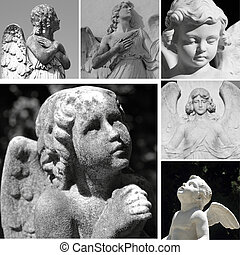 collage with antique cemetery angels