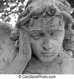 pensive angelic figure