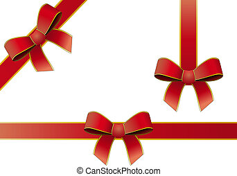 silk tied red ribbon - illustration set of silk tied red...