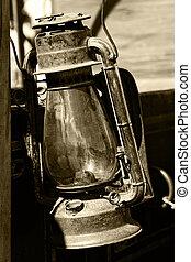 Vintage Lantern in Sepia - Closeup of a vintage lantern...