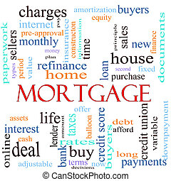 Mortgage word concept illustration - An illustration around...