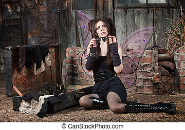 Fairy Holds Loupe - Cute Caucasian fairy holds loupe
