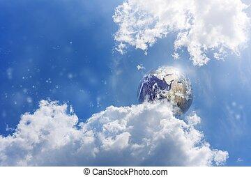 Planet Earth in blue sky