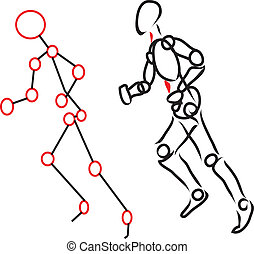 Human body running - character with points of red