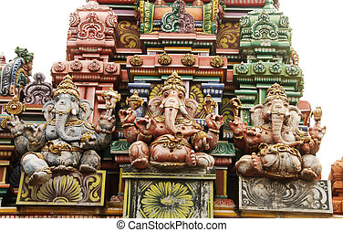 Hindu temple - Detail of beautiful hindu temple with a...